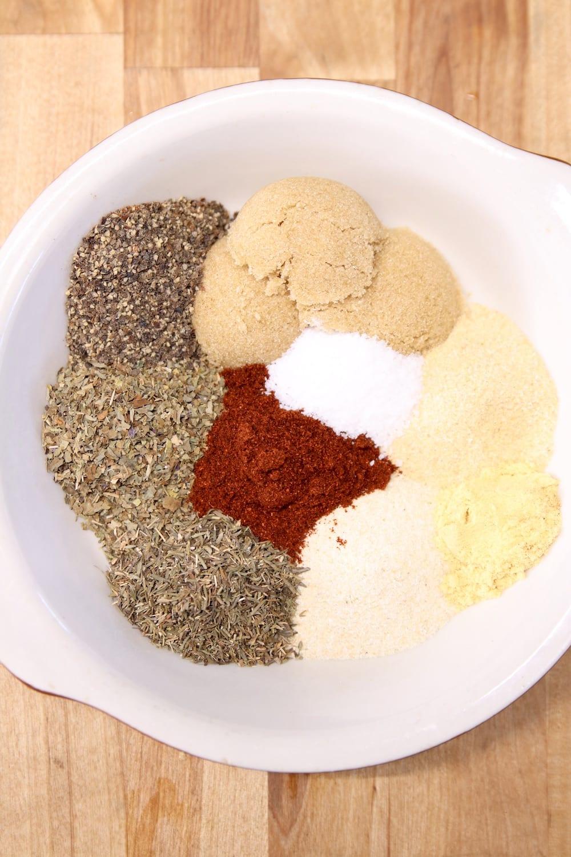 dry rub ingredients in a bowl