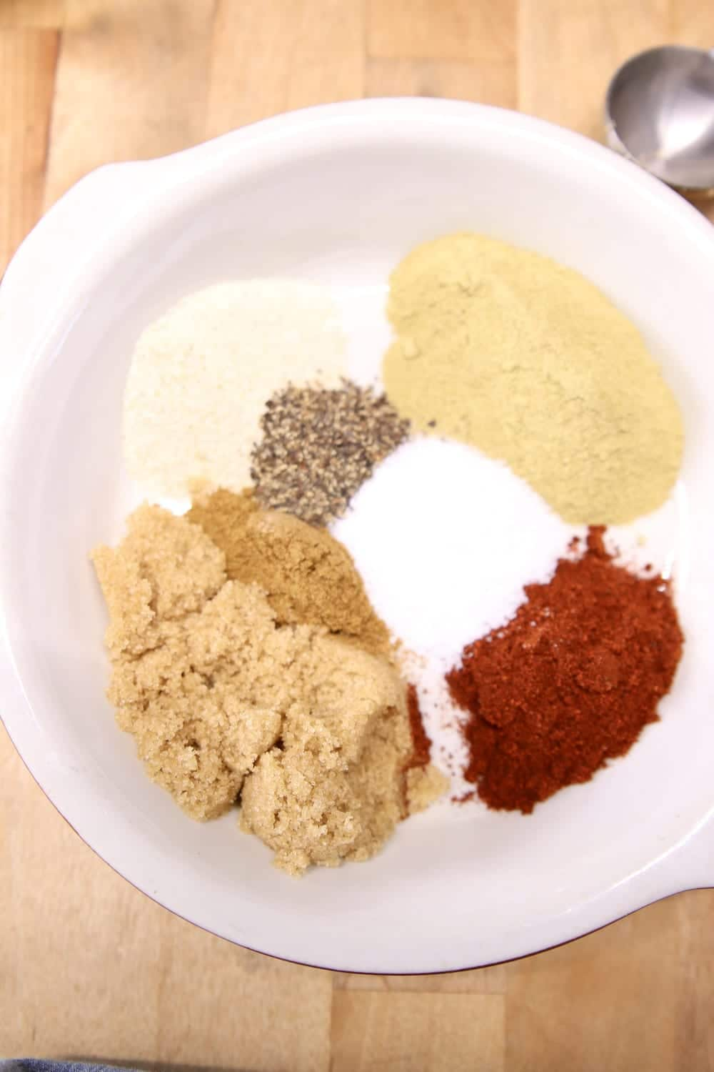 plate with spices for chili