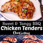 Sweet & Tangy BBQ Chicken Tenders Collage plated with baked potatoes/ on the grill