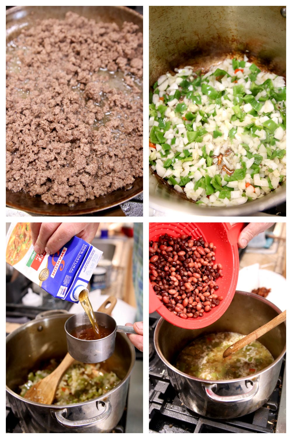 steps to making chili, browning ground beef, cooking vegetables, adding broth, beans