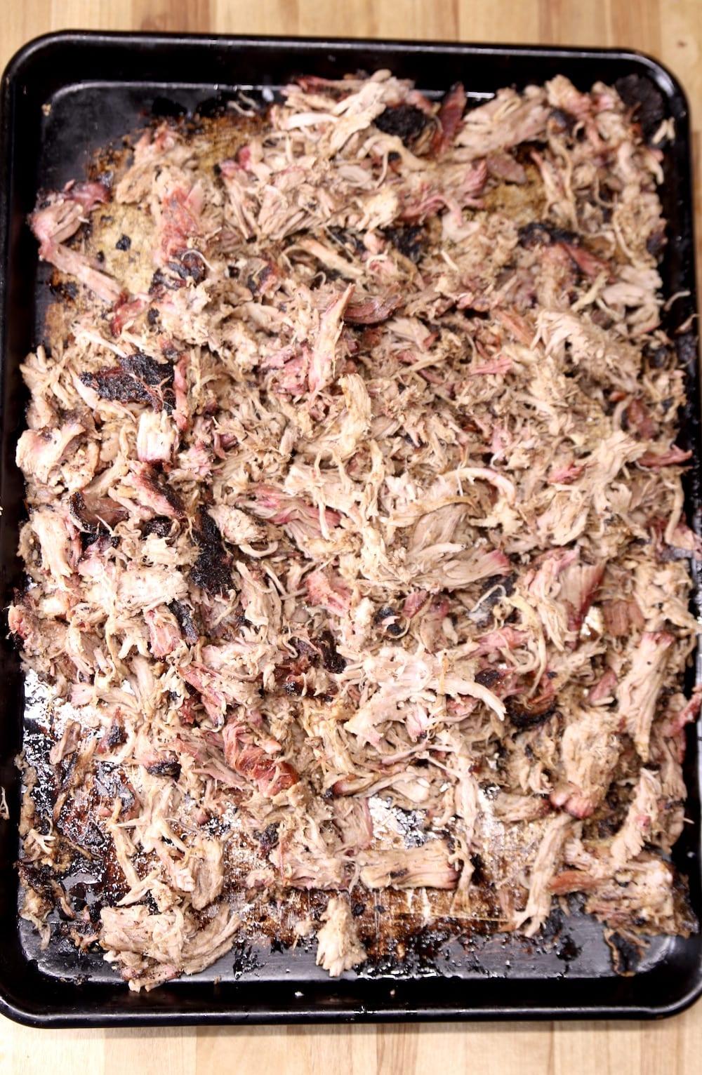 Smoky Pulled Pork on a sheet pan