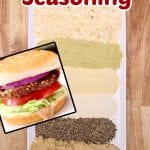 best burger seasoning - ingredients on a plate - overlay of burger on a bun, text title