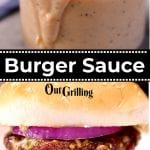 Burger sauce collage: in jar/on a burger