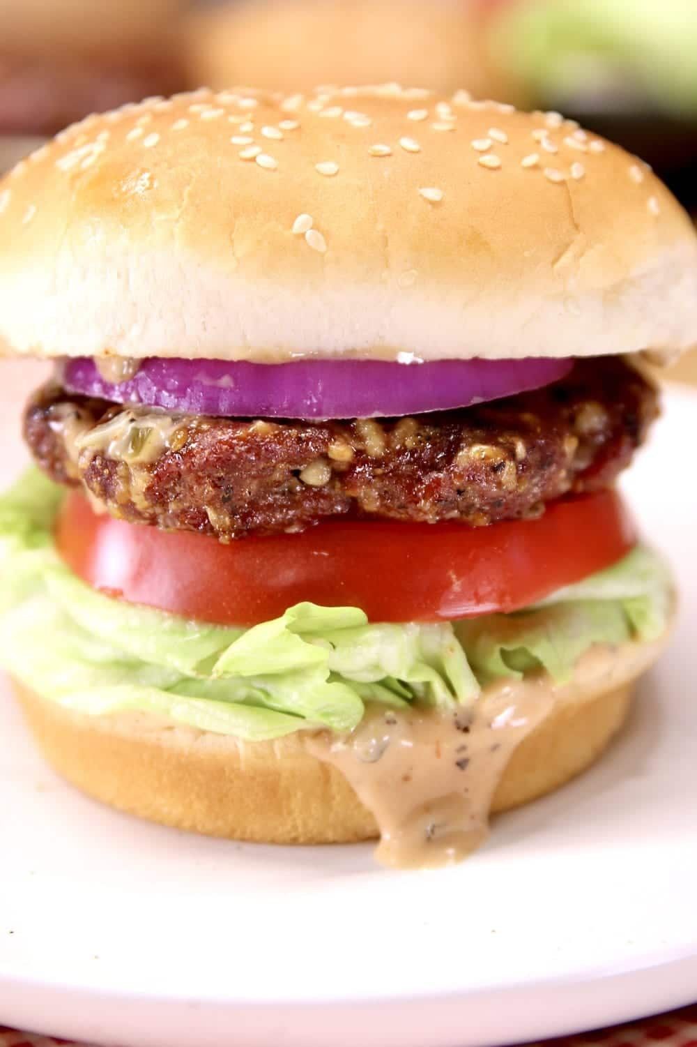 Closeup of grilled mozzarella burger on a bun with burger sauce, lettuce, tomato, red onion