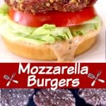 collage of mozzarella burgers: served on a bun/ on the grill