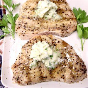 Garlic Butter pork chops on a platter