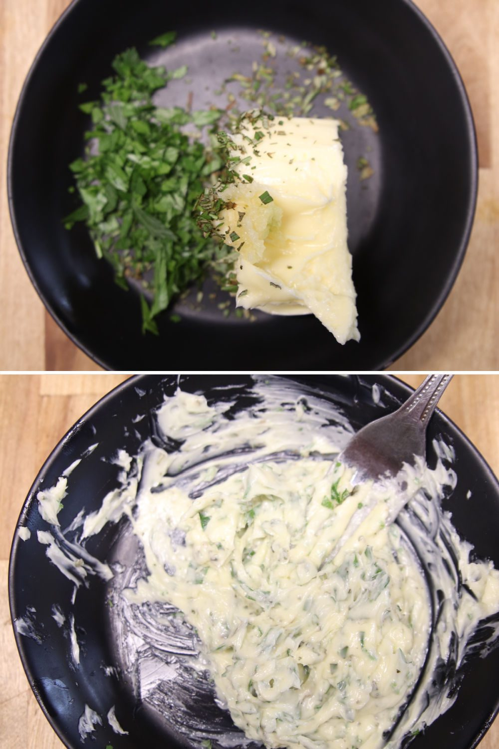 collage making garlic butter with rosemary and parsley: ingredients/mixed