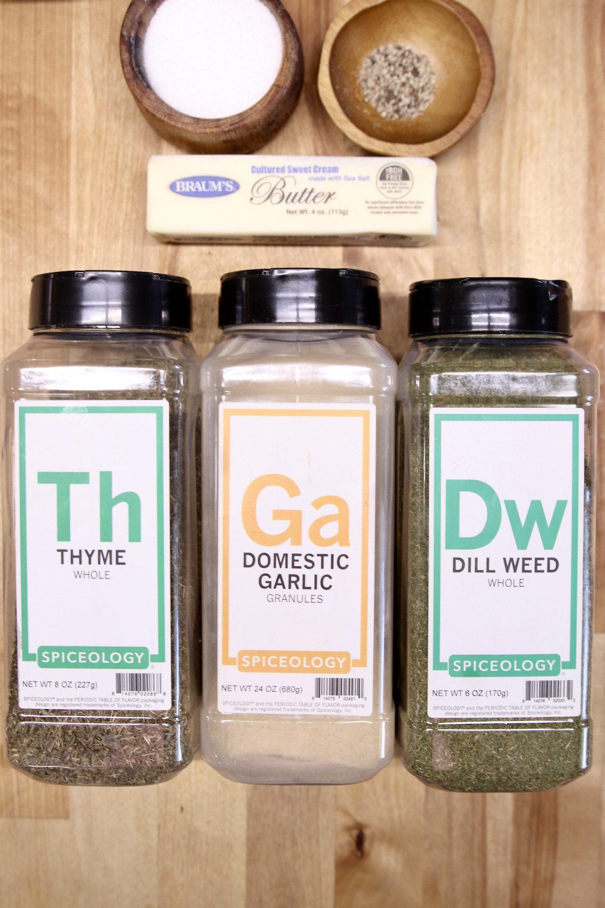 salt, pepper, butter, thyme, garlic, dill weed