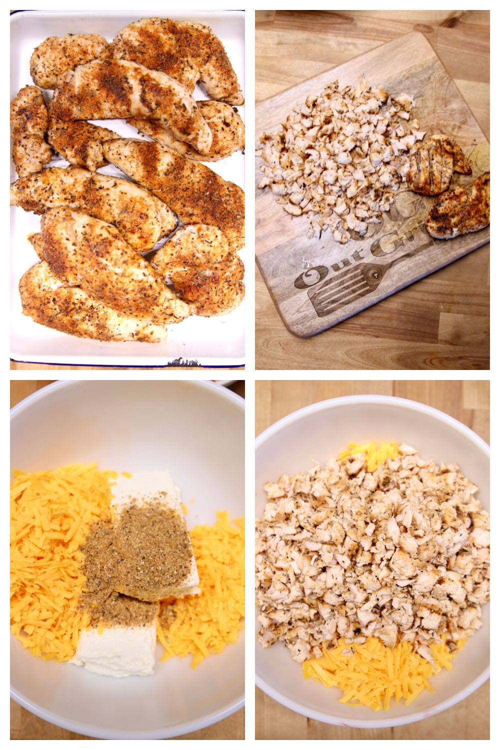 Collage:pan of chicken, chopped on cutting board, bowl of cream cheese, cheddar, then topped with chicken