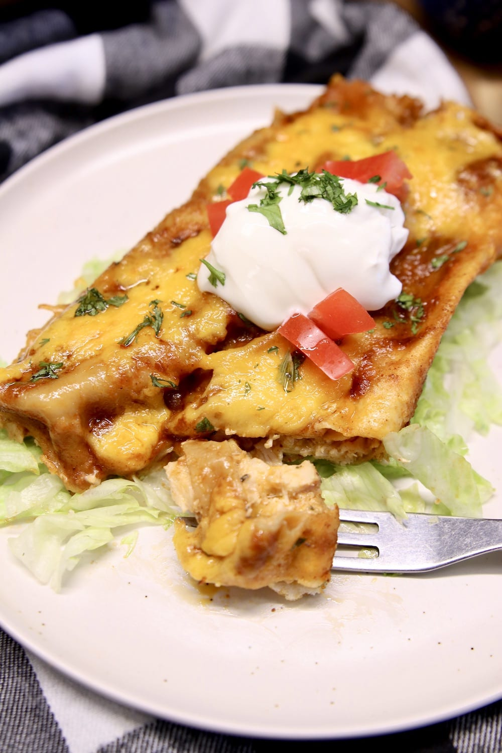 chicken enchilada with a fork, bite on the fork