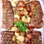 4 Grilled Steaks with roasted potatoes