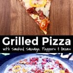 Grilled Pizza collage: sliced/on a grill