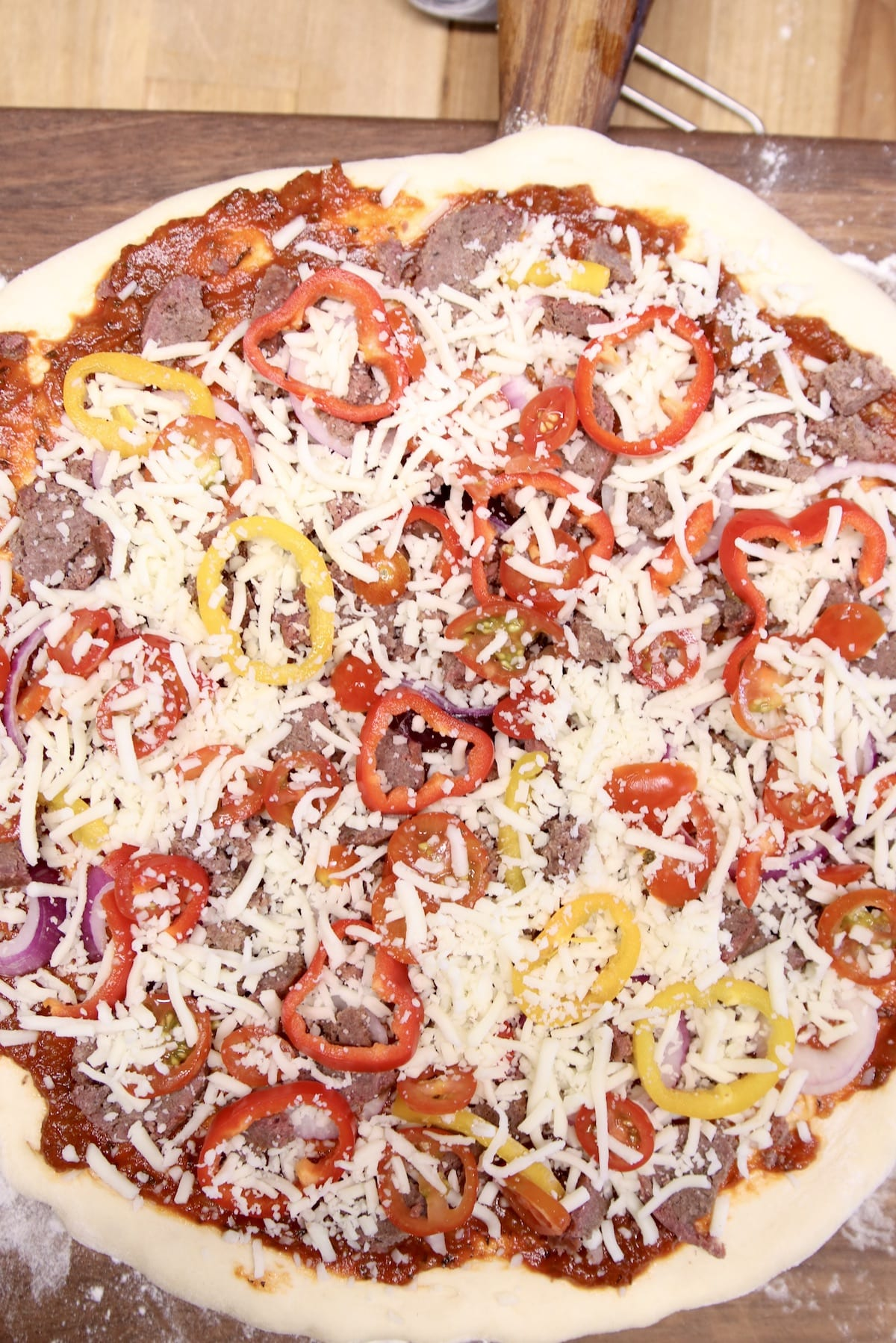 pizza with toppings - not baked