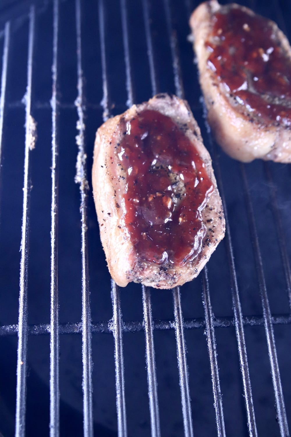 Grilling Pork Chops with bbq sauce