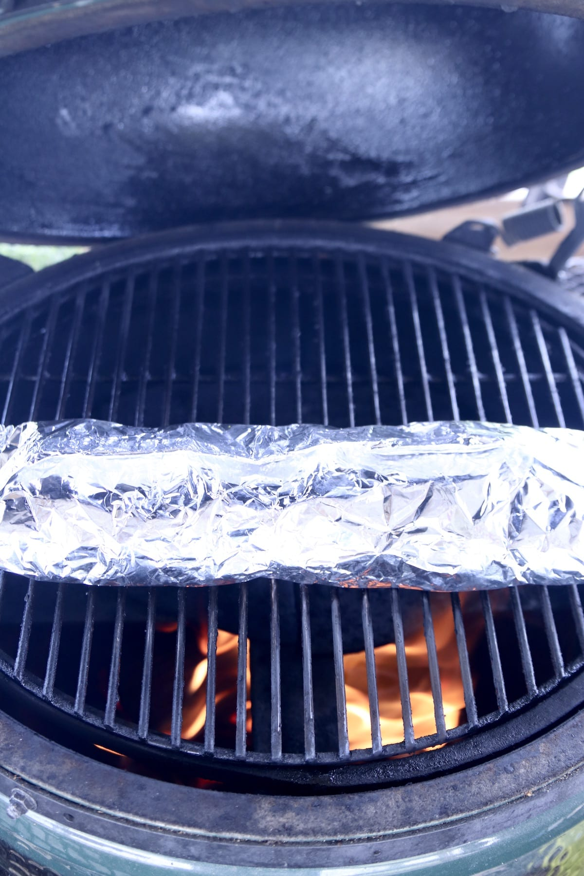 foil packet potatoes on a big green egg grill