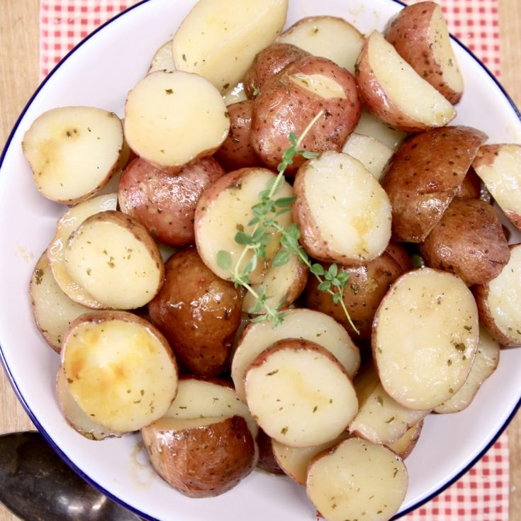 ranch potatoes made with baby red potatoes in a bowl