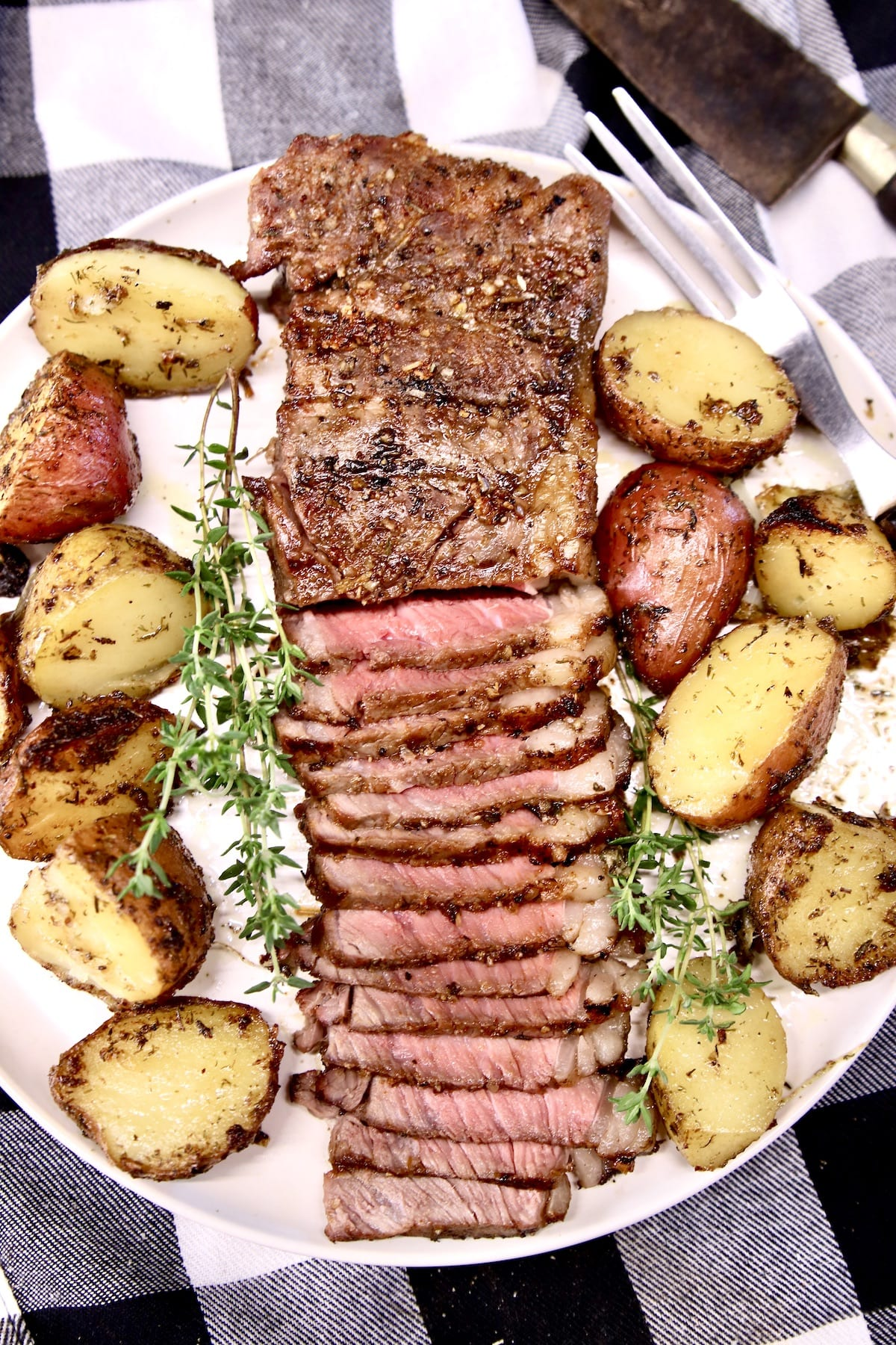 Grilled Strip Steak with roasted potatoes
