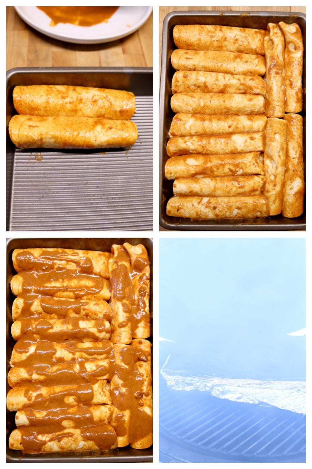 chicken enchiladas, filling the pan, topping with sauce, on the grill covered with foil: collage