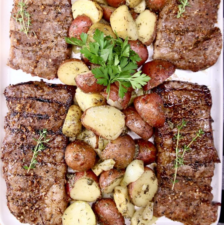 Grilled Strip Steaks with potatoes