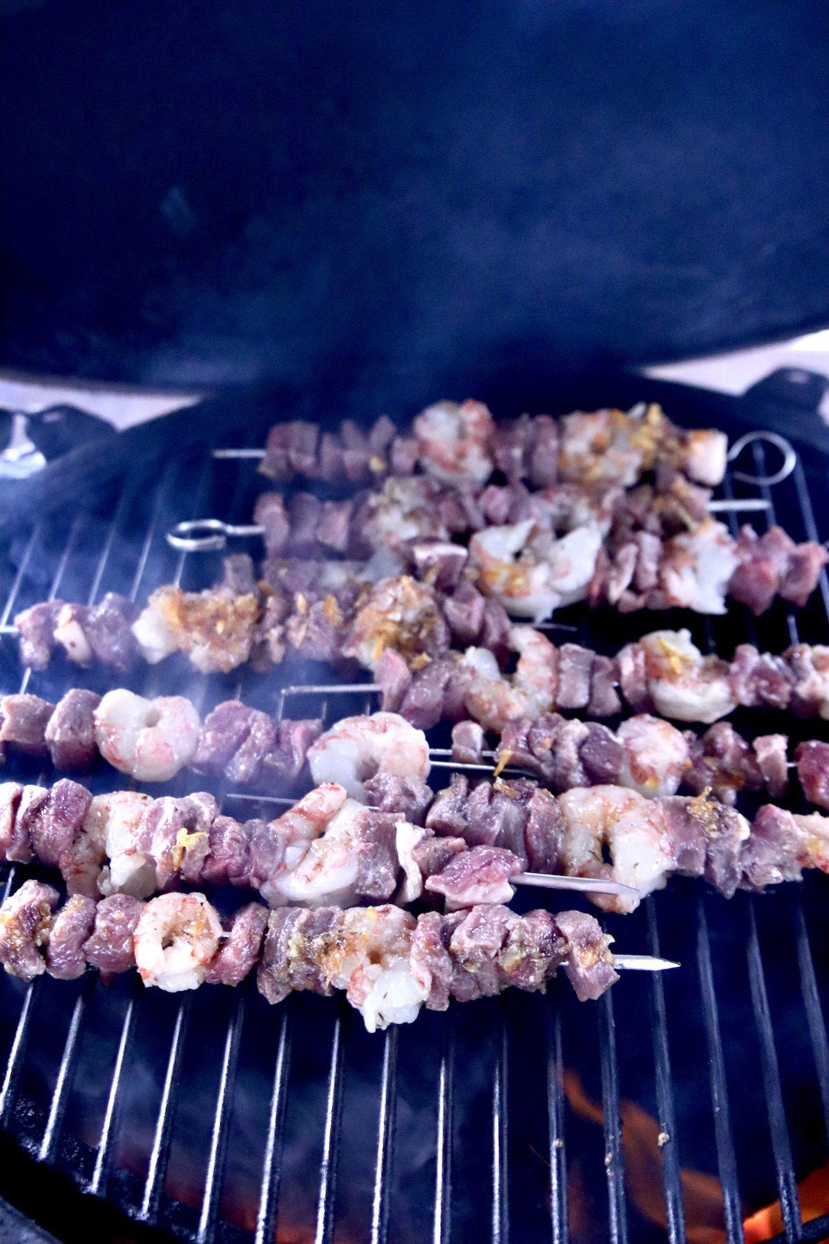 Grilling kabobs - steak & shrimp