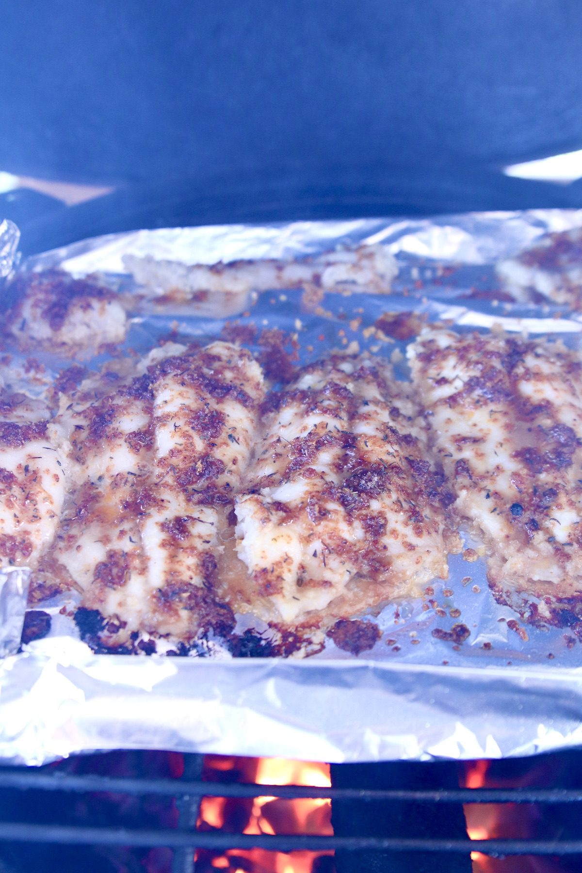 catfish on foil - on a grill