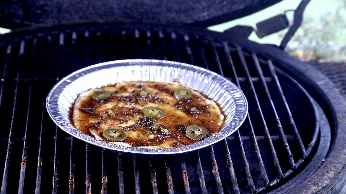 jalapeno cream cheese dip on a grill