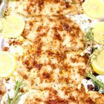 Lemon Grilled Catfish on a foil lined pan - text overlay