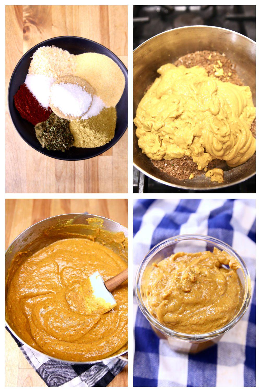 collage of making mustard glaze