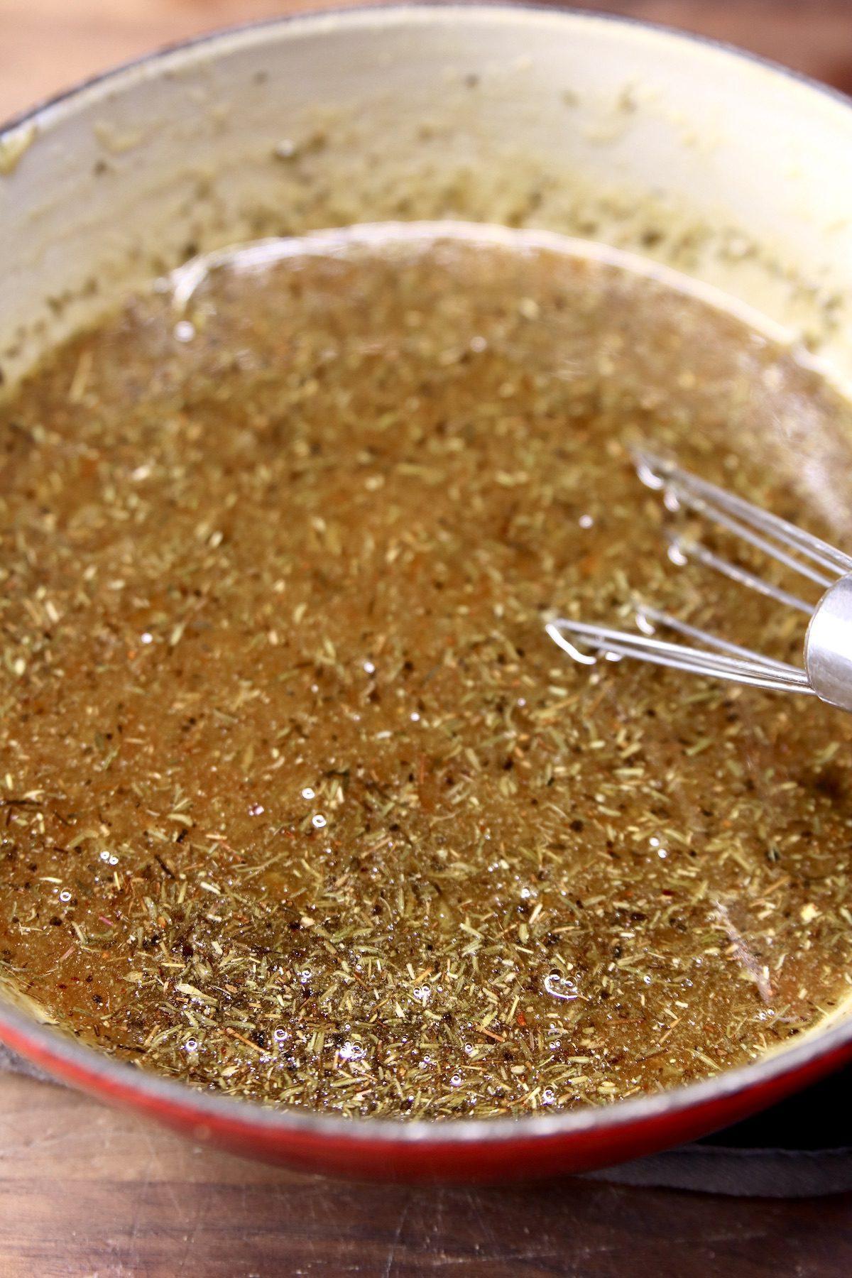 pan of orange ginger marinade