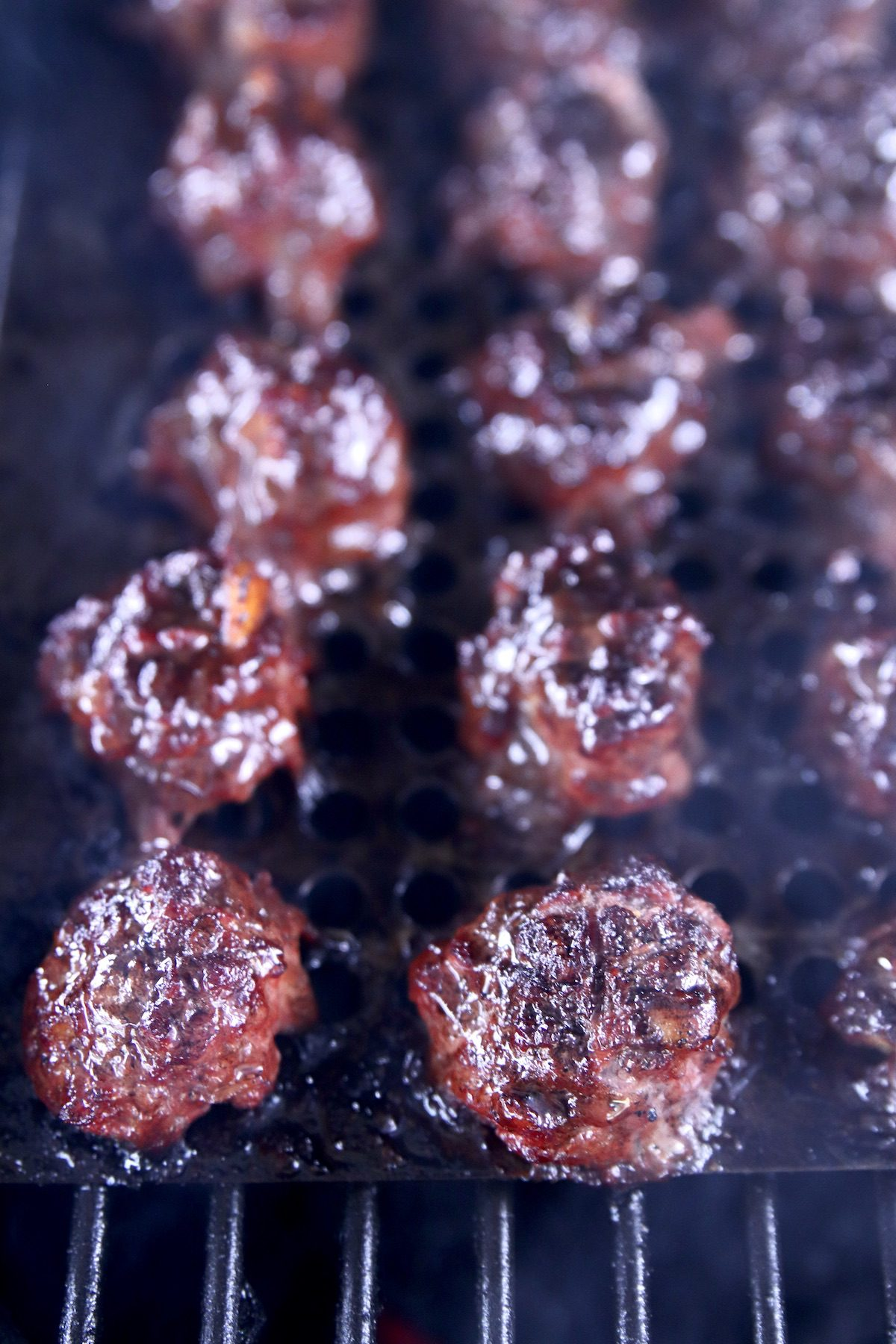 up close grilled meatballs