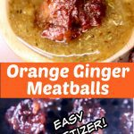 orange ginger meatballs collage: dipping in sauce/on grill