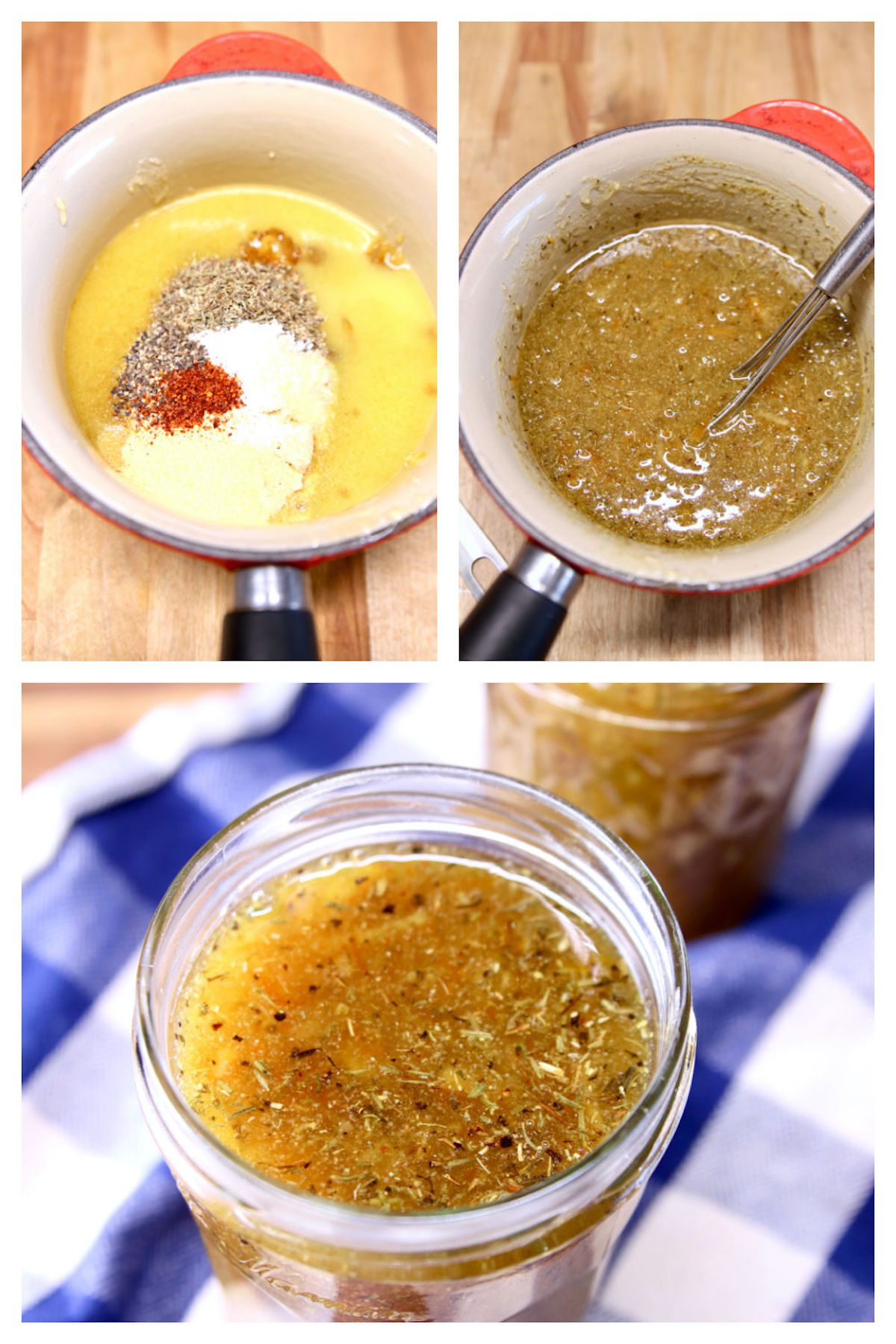 collage making orange ginger sauce: ingredients in pan/cooked/in a jar