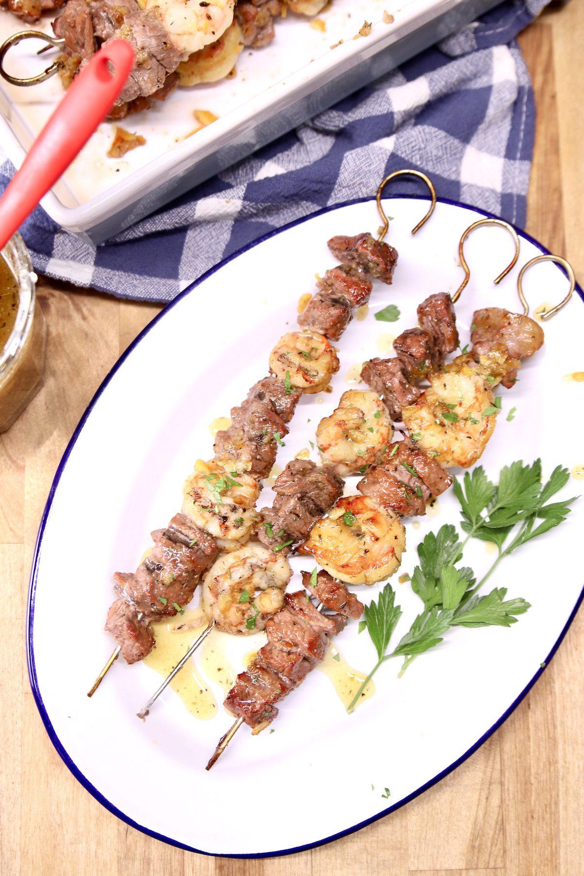 platter with 3 steak & shrimp kabobs
