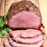 rump roast cooked medium - partially sliced