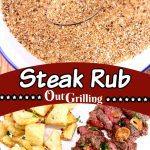 Steak Rub Collage: in a bowl/ grilled steak, cut up with potatoes on a plate