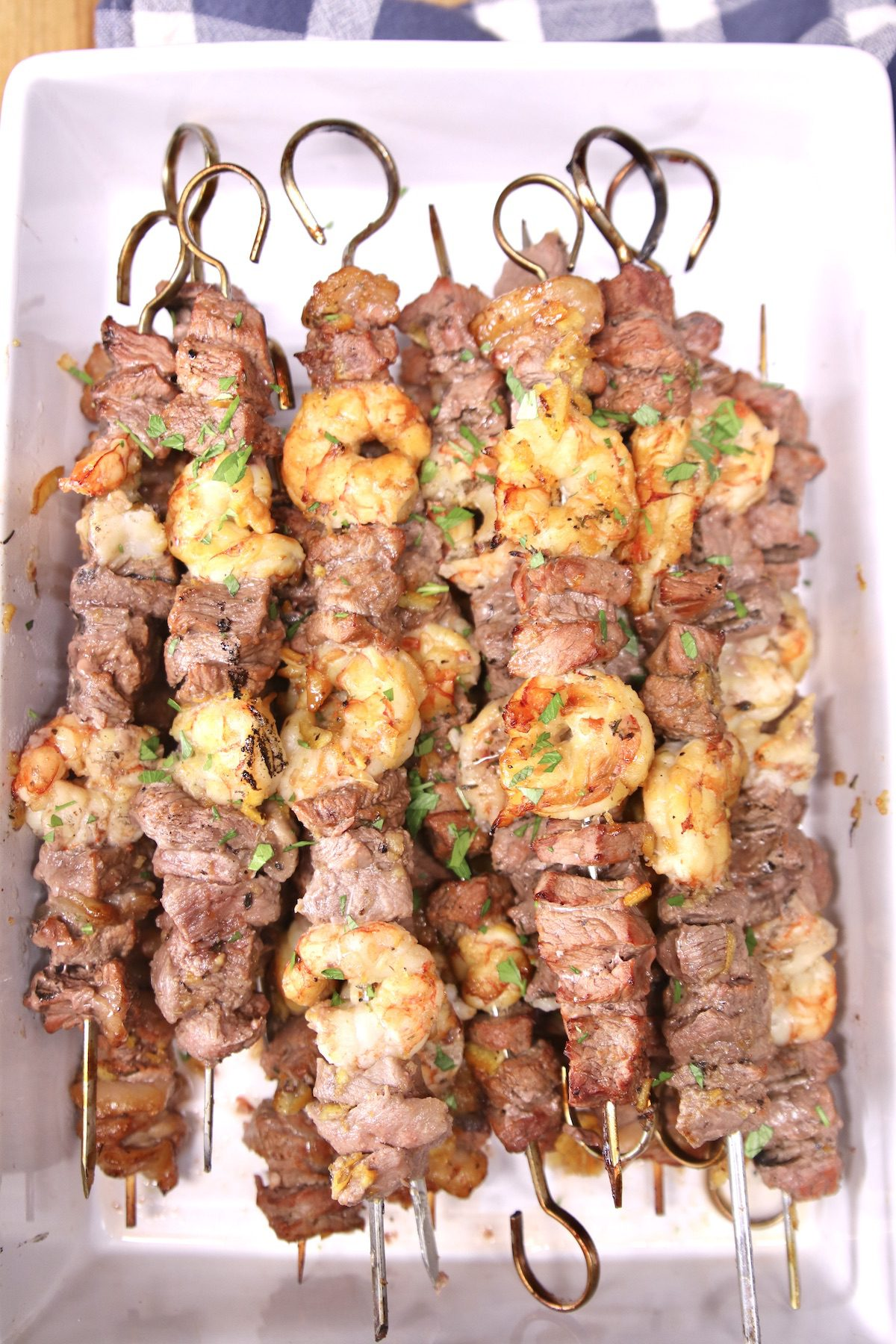 grilled shrimp and steak skewers