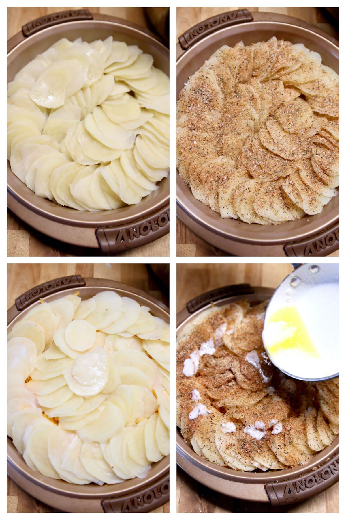 layering potatoes with spices and cheese in a round baking pan