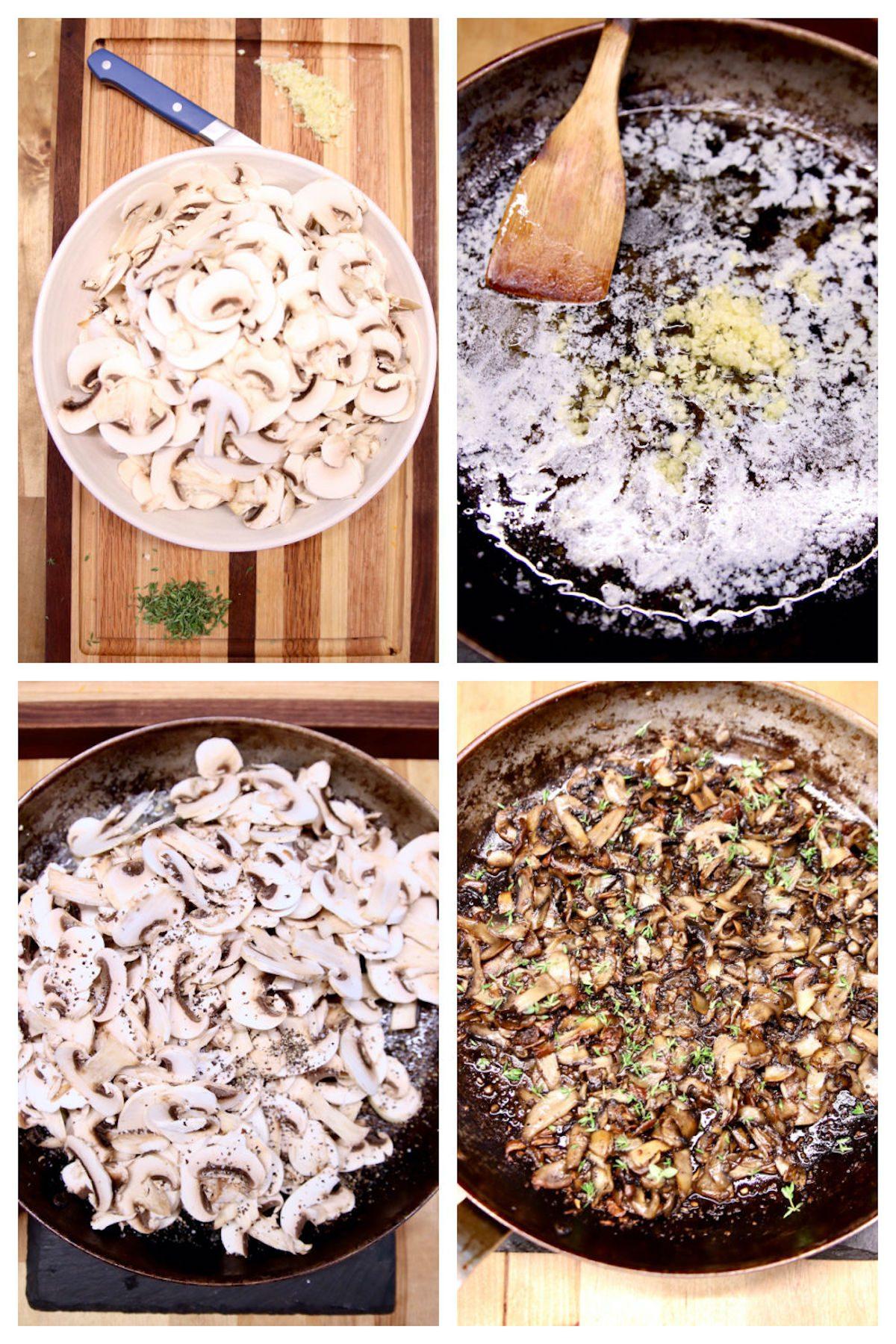 garlic butter mushrooms collage
