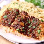 garlic butter salmon with rice- text overlay