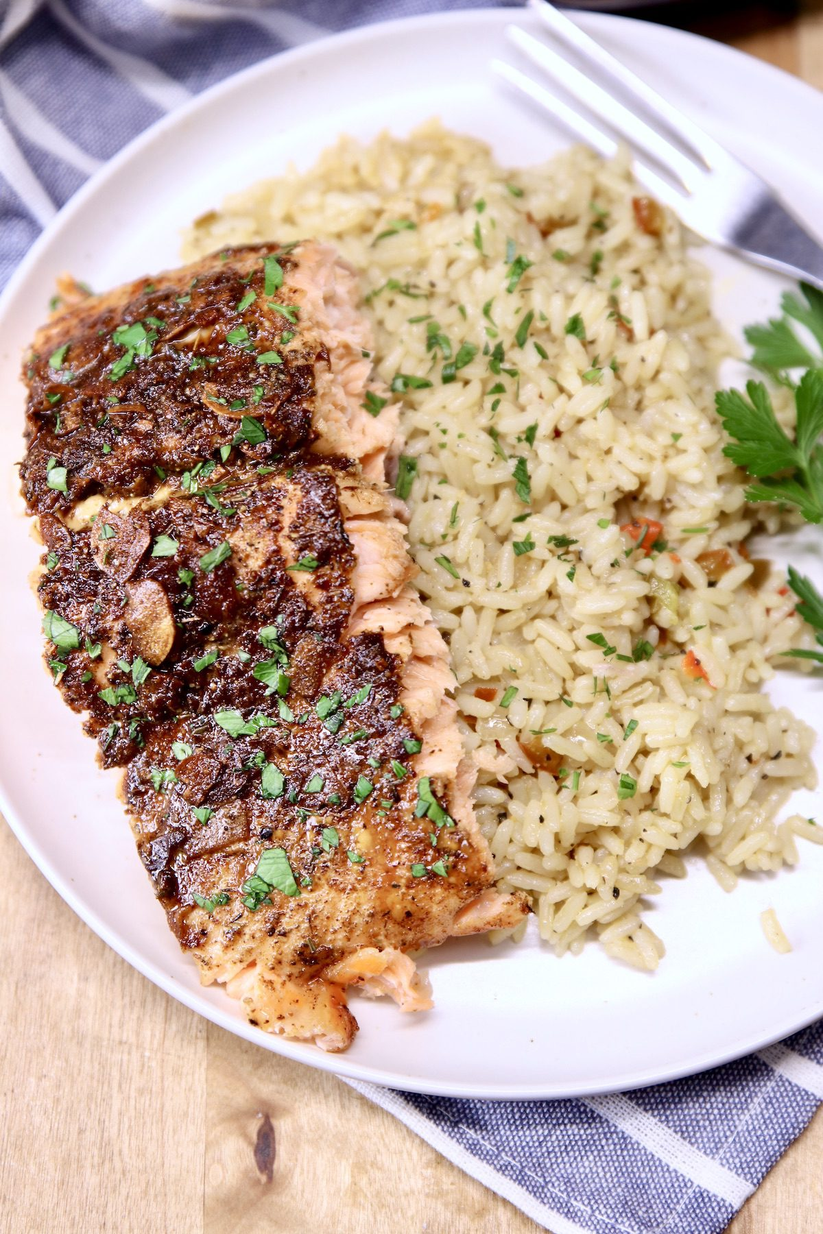 plate of rice with salmon fillet