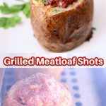 Grilled Meatloaf Shots collage: plated/on grill