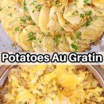 collage: potatoes au gratin: platter/ in casserole dish