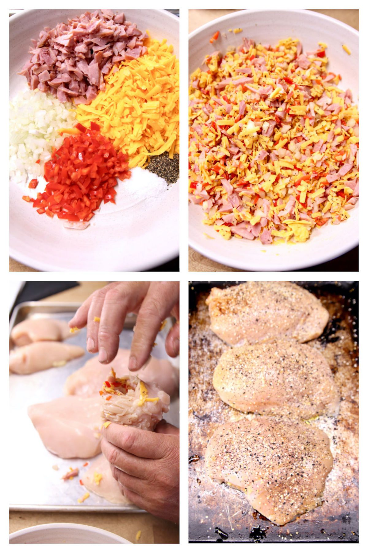 collage ingredients/making stuffed chicken breasts with ham, cheese, peppers and onions