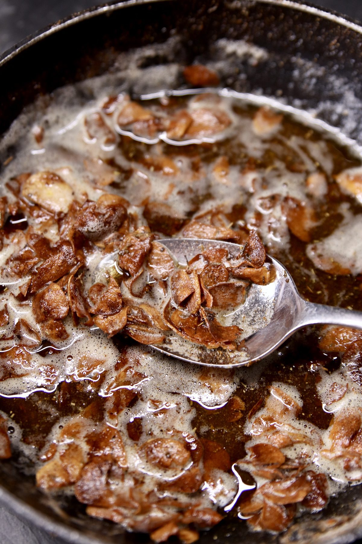 toasted garlic chips in butter