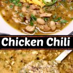 chicken chili collage: bowl/pan with spoon scooping