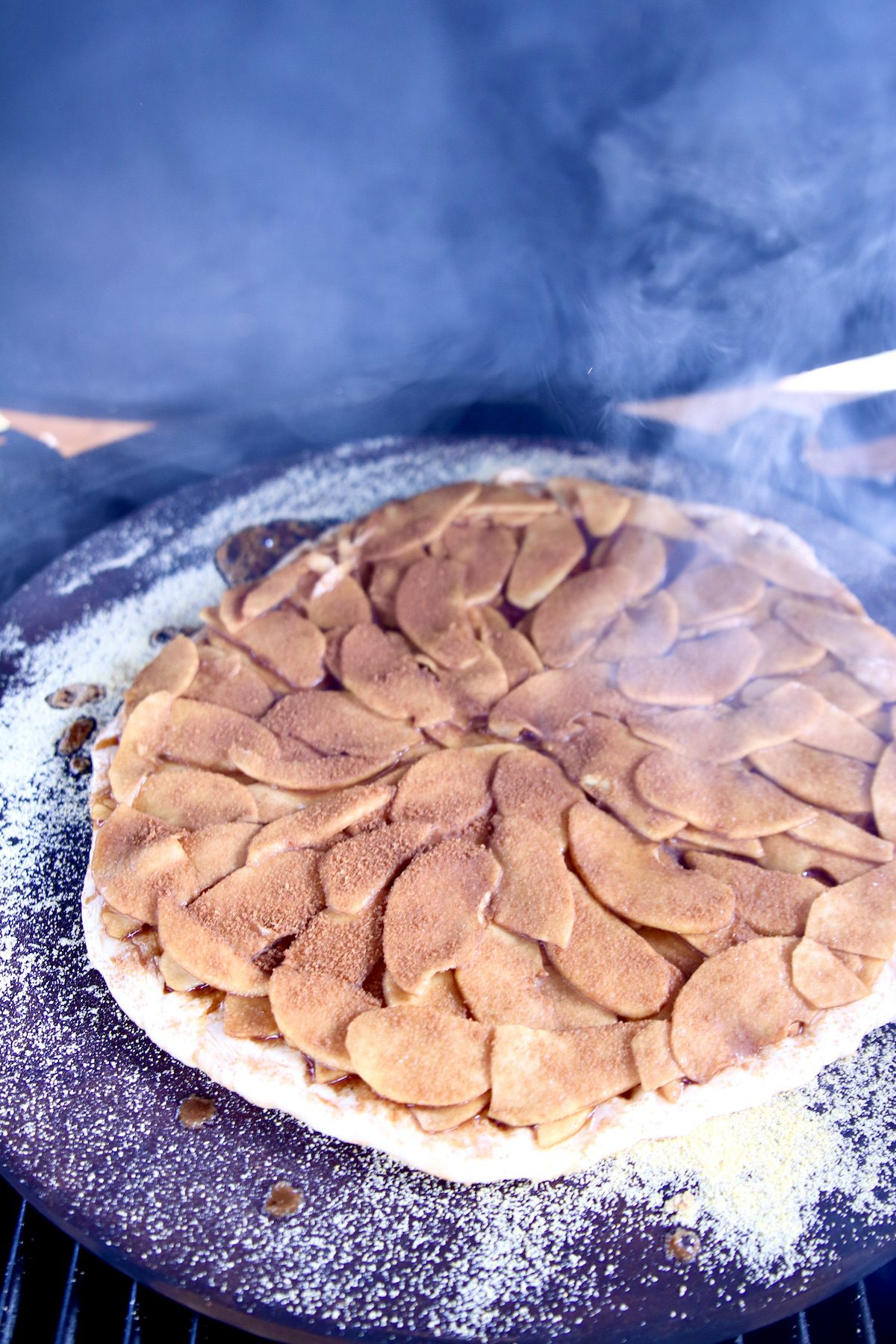 apple pizza on a grill