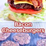 bacon cheeseburgers collage: plated/on the grill