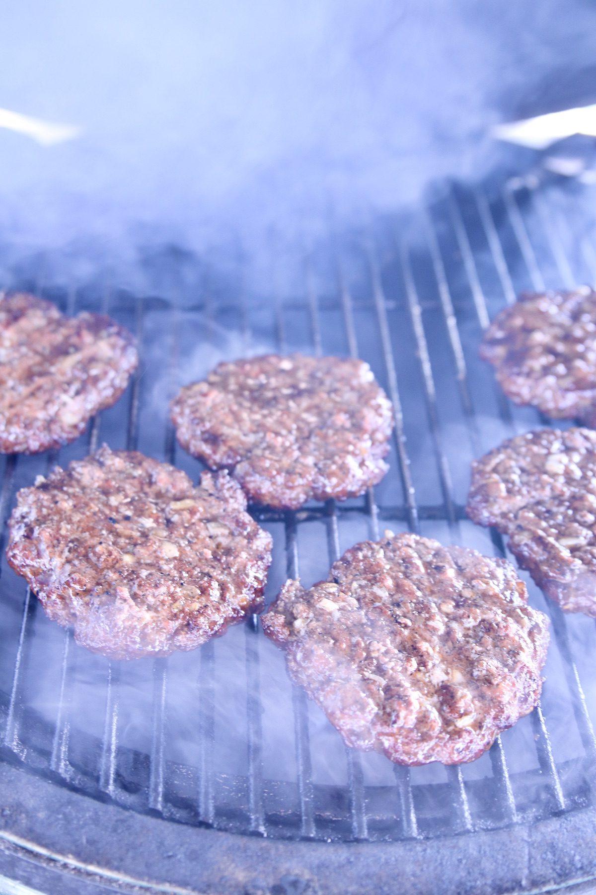 grilling burger patties - smoky