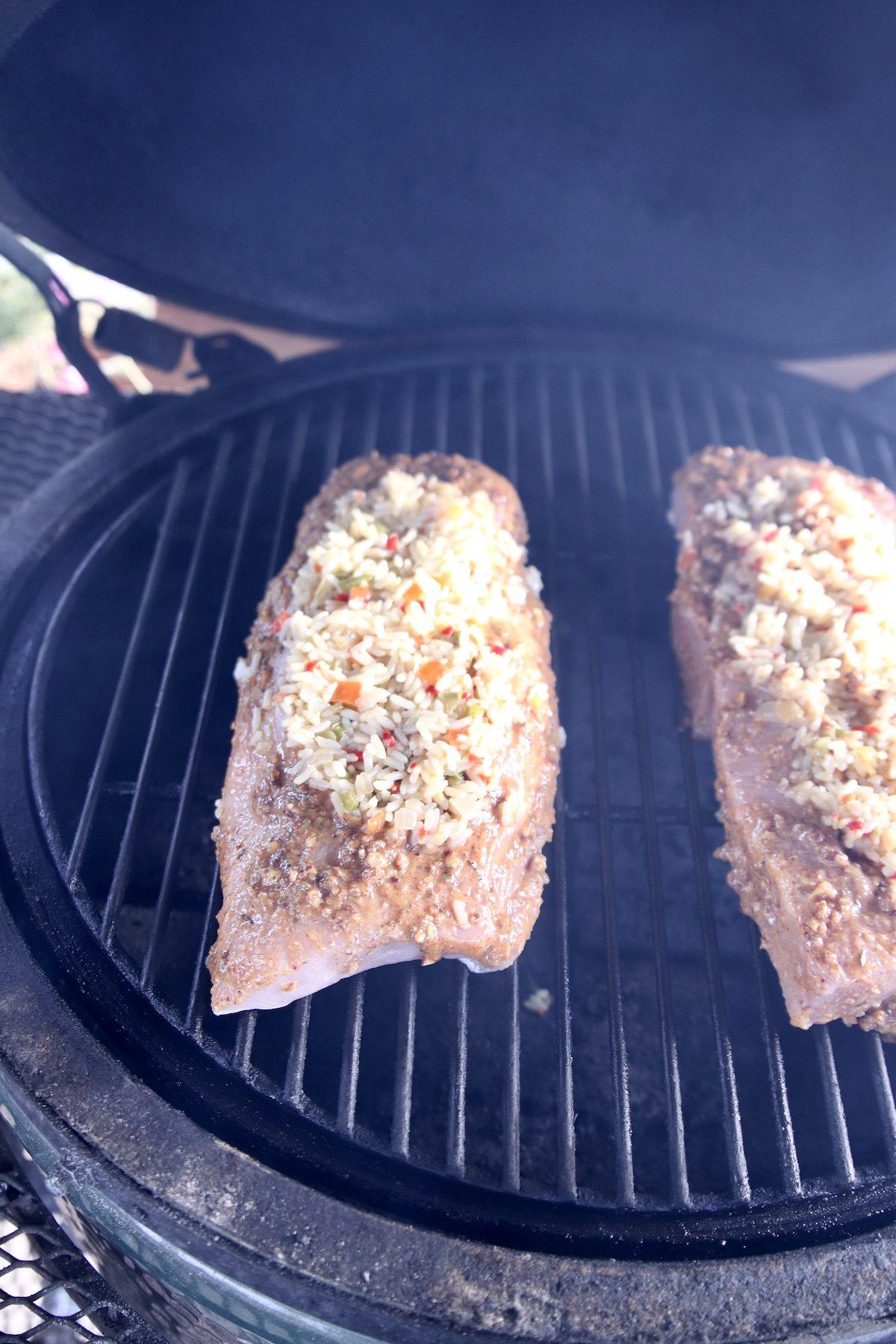 rice pilaf stuffed pork loins on grill