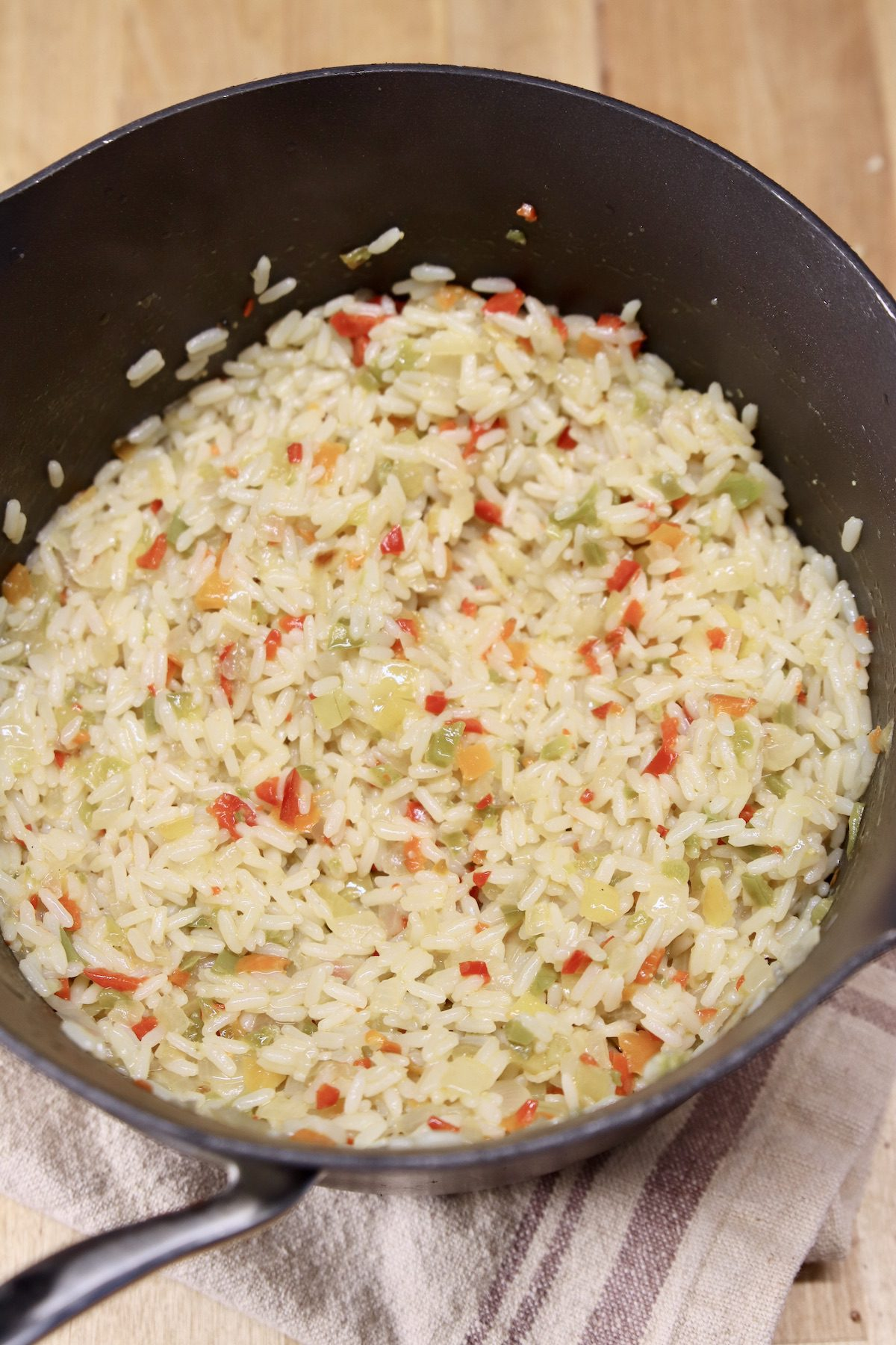 rice pilaf in a pan